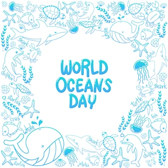 World oceans day marine frame