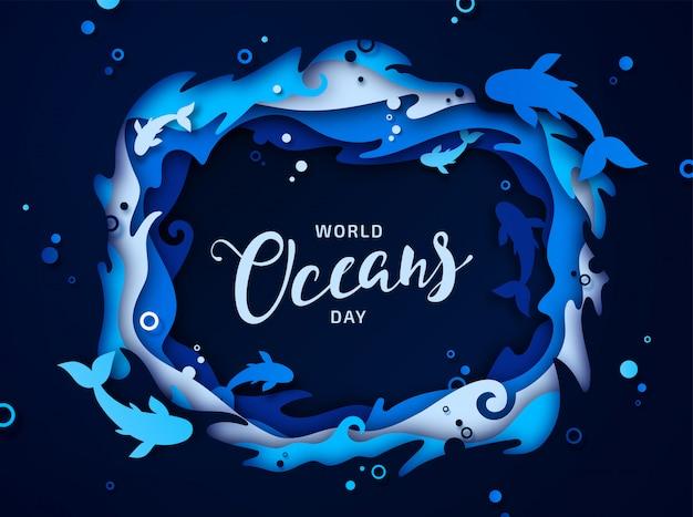 World oceans day. papierkunst van zeegolven en vissen