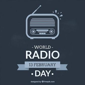 World radio dag achtergrond in blauwe kleur