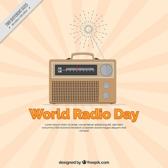 World radio dag sunburst achtergrond