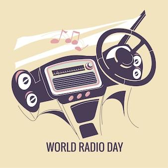 World radio day concept illustratie. luister naar de radio bij car
