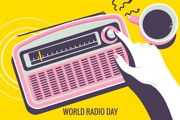 World radio day concept illustratie. mannen stemmen de radio-equalizer af