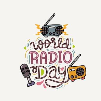 World radio day hand getekende letters Premium Vector