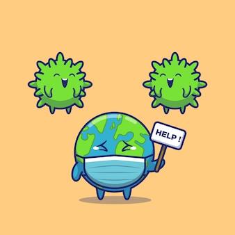 World scare corona virus pictogram illustratie. corona mascotte stripfiguur. wereld pictogram concept geïsoleerd