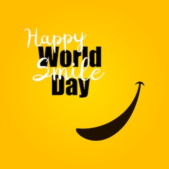 World smile day op gele achtergrond.