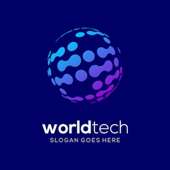 Worldtech technologie logo vector sjabloon