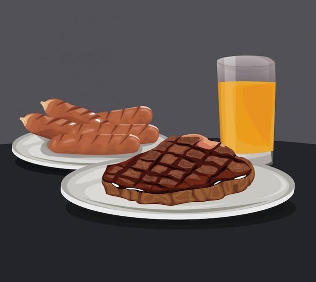 Worst en biefstuk met sap fast food eten