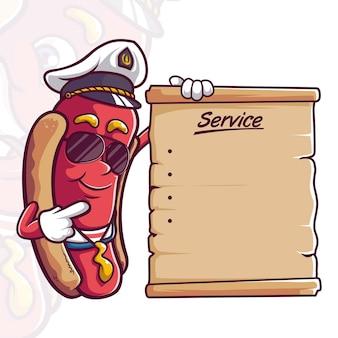 Worst hotdog kapitein mascotte tekens menu