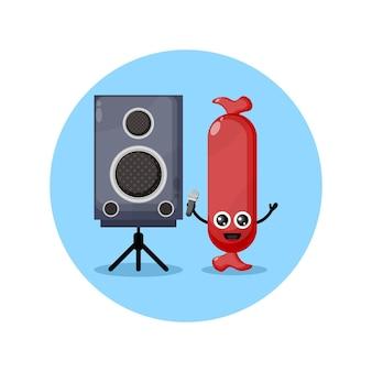 Worst karaoke schattig karakter mascotte