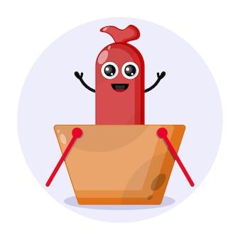 Worst winkelwagentje schattig karakter logo