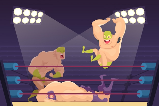 Worstelaars vechten. sport cartoon sterfelijk met luchadors mascottes van gevechtsfiguren