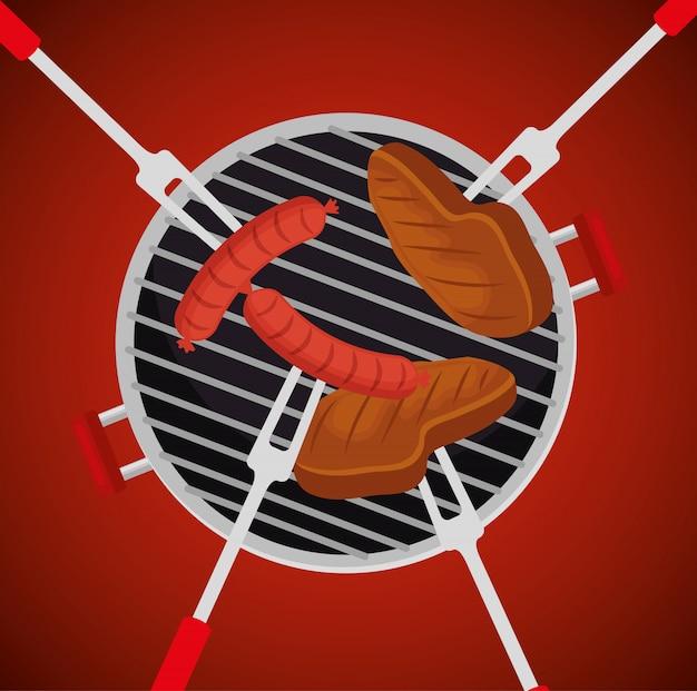 Worsten met vlees in de grill