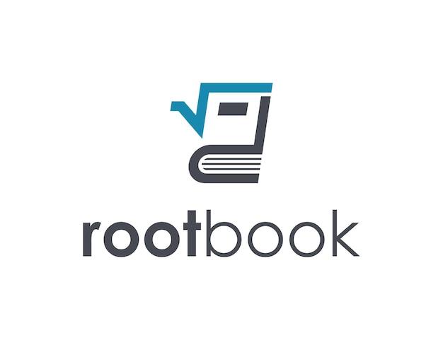 Wortel en boek eenvoudig gestroomlijnd creatief geometrisch modern logo-ontwerp
