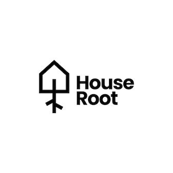 Wortel huis huis boom logo sjabloon