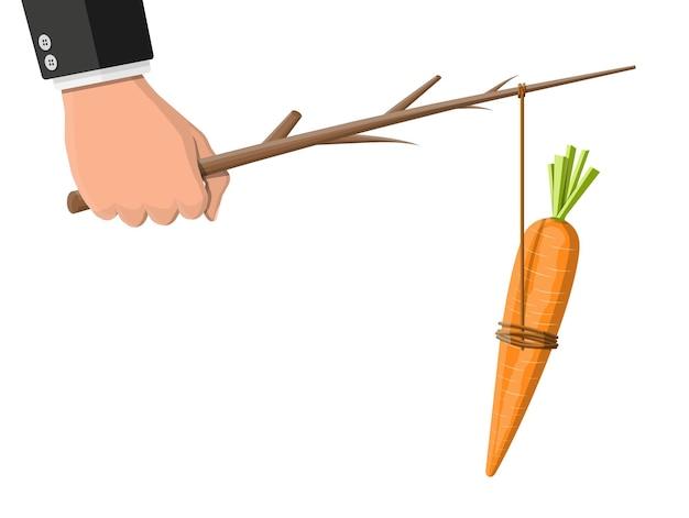 Wortel op een stok in de hand. motivatie, stimulans, stimulans en het bereiken van doel concept metafoor. vissende houten stok met hangende wortel