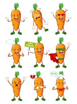 Wortel plantaardige mascotte cartoon