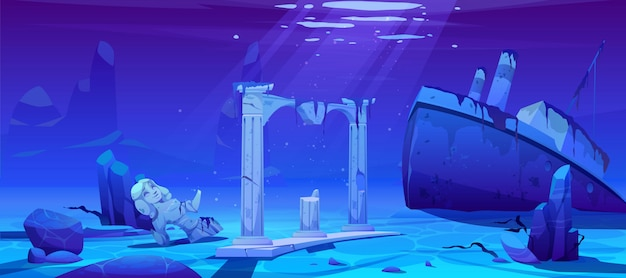 Wrak schip, gezonken stoomboot op oceaan zandige bodem