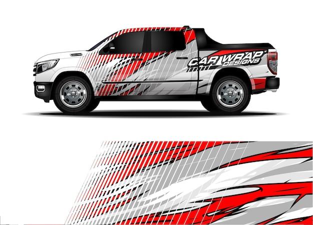 Wrap ontwerp voor racewagens. voertuig vinyl sticker en auto sticker kleurstelling
