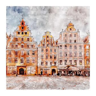 Wroclaw polen aquarel schets hand getrokken illustratie