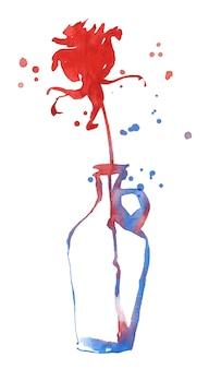 Wtercolor silhouet van een roos in een fles geïsoleerd op wit