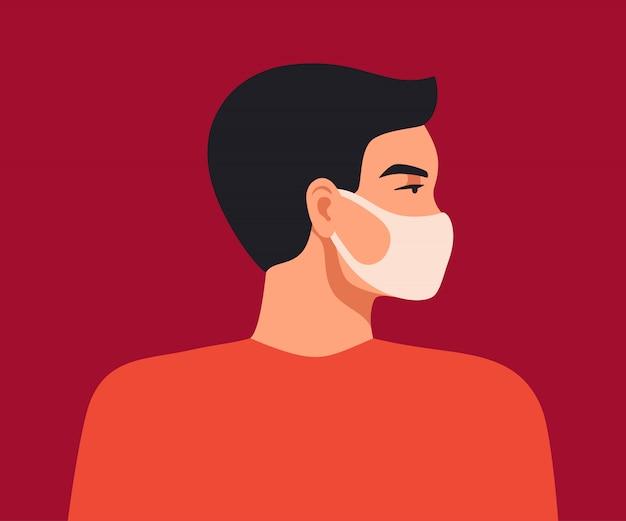 Wuhan novel coronavirus. de jonge aziatische mens draagt een ademhalingsmasker om tegen coronavirus te beschermen