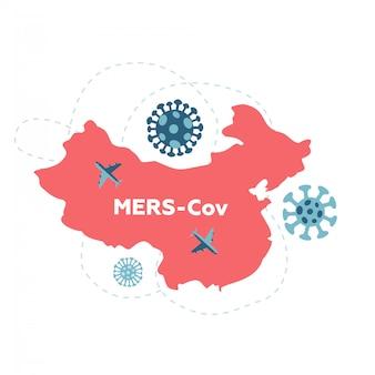 Wuhan reisverbod vanwege coronavirus cov verspreid over de hele wereld. rood silhouet van china met pijlen. epidemische zone. bewustzijn campagne banner. gezondheid en geneeskunde. vlakke afbeelding.