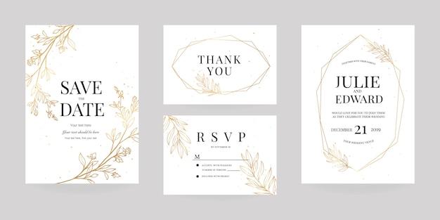 Wwedding uitnodiging, rsvp-kaart, bedankkaartsjabloon