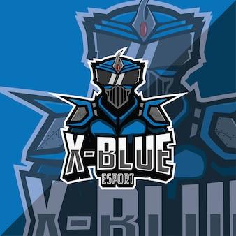X blauw esport logo sjabloon