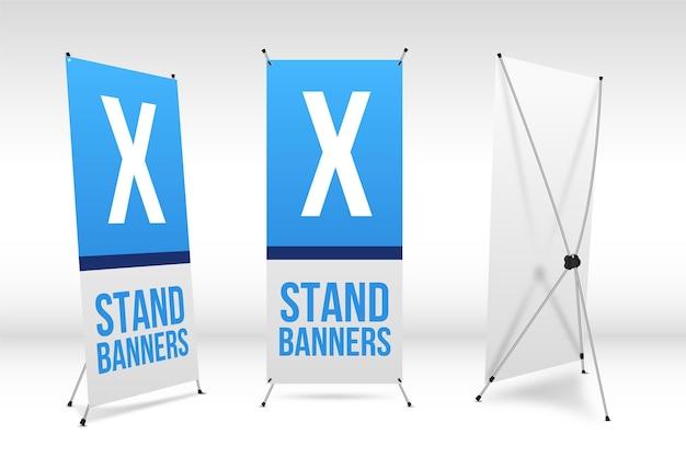 X stand banners instellen