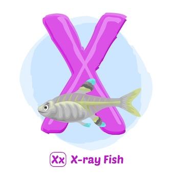 X voor röntgenvissen. de stijl van de illustratietekening van alfabetdier voor onderwijs