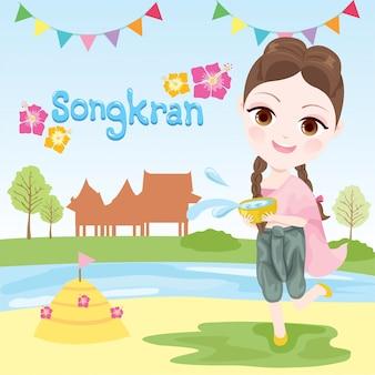 Xgirls spelen in het water op het songkran-festival
