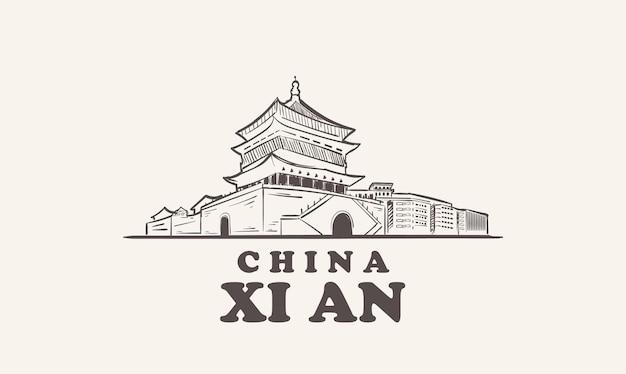 Xi an stadsgezicht schets met de hand getekend, china