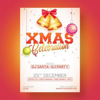 Xmas celebration party poster, banner of flyer design.