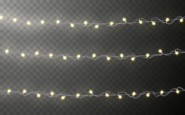 Xmas color garland, feestelijke decoraties. gloeiende kerstverlichting transparant effect decoratie op donkere achtergrond.