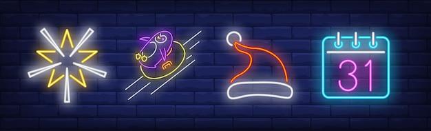 Xmas decoratie symbolen in neon stijl
