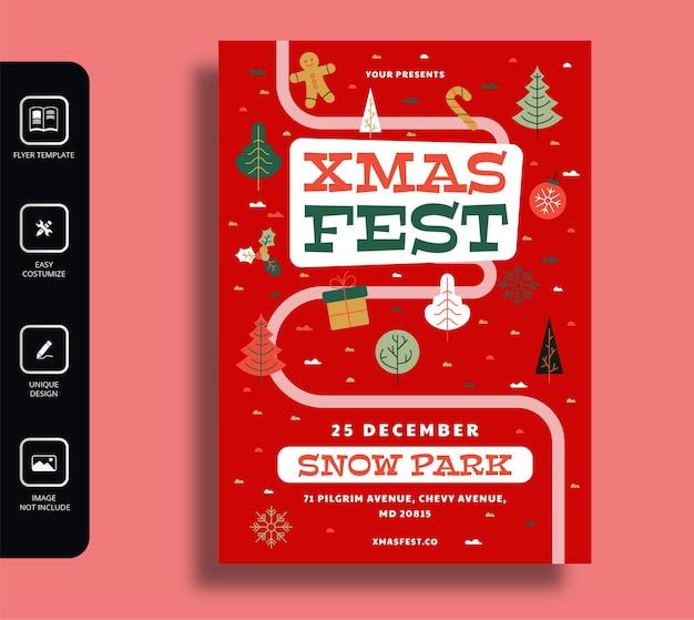Xmas fest flyer-sjabloon voor kerstmis en nieuwjaar