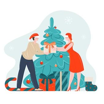 Xmas mensen geven nieuwjaar geschenken illustratie stripfiguren