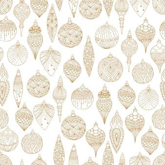 Xmas naadloze patroon met kerstboom ballen hand getrokken kunst ontwerp vectorillustratie.