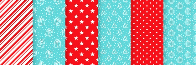 Xmas naadloze patroon. rood blauw illustratie set