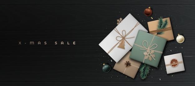 Xmas sale banner met realistische geschenkdozen in ambachtelijk papier