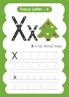 Xmas tree trace lijnen schrijven en tekenen oefenwerkblad voor kinderen
