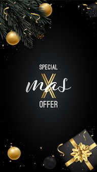 Xmas verkoopsjabloon voor sociale media en flyers