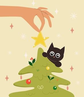 Xmas-wenskaart versierd met hand hangt een kerstspeelgoedster aan een boom en kat in vlakke stijl