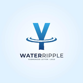 Y blauw kleurverloop brief water rimpel splash golf dynamisch logo vector pictogram illustratie