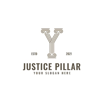 Y brief logo wet en rechtvaardigheid pijler elegante gedurfde geometrische lijntekeningen
