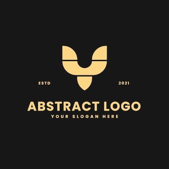 Y brief luxe gouden geometrische blok concept logo vector pictogram illustratie