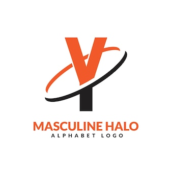 Y brief oranje en zwarte mannelijke geometrische ring logo vector pictogram illustratie