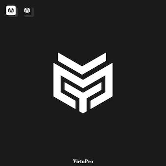 Y en m monogram logo sjabloon