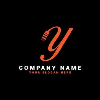 Y food letter-logo met vorksymbool