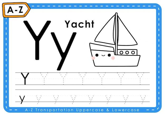 Y - jacht: alfabet az transport tracing letters werkblad